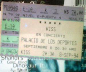 Boleto del concierto de Kiss en México (8/9/94)