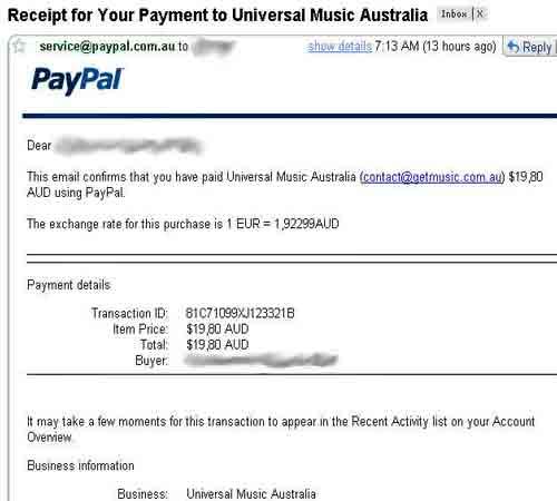 Supuesto recibo del pago de la descarga de disco de U2