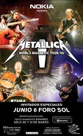 Metallica tocará el 6 de junio en México