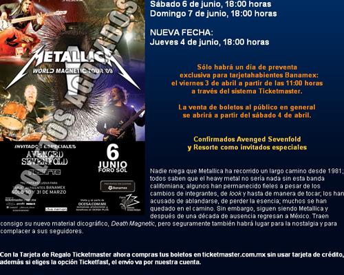 Metallica agrega otra fecha en México