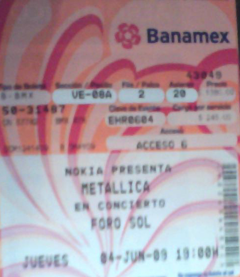 Boleto para el concierto de Metallica