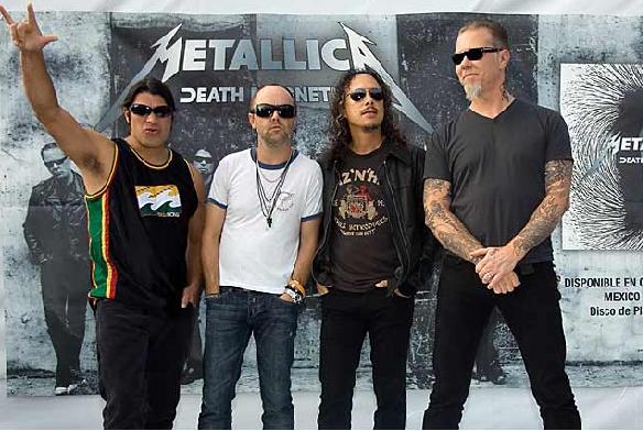 Metallica en la conferencia de prensa en México