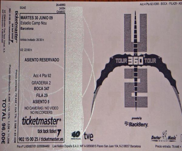 Boleto del concierto de U2 en Barcelona