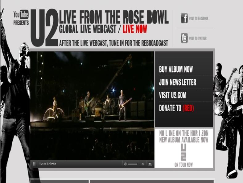 U2 en vivo desde el Internet