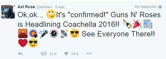Axl confirma a Guns en Coachella